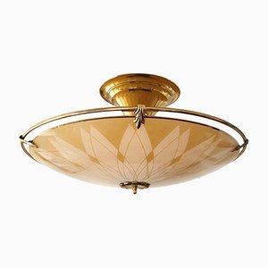 Lámpara colgante UFO italiana de vidrio y latón, años 50