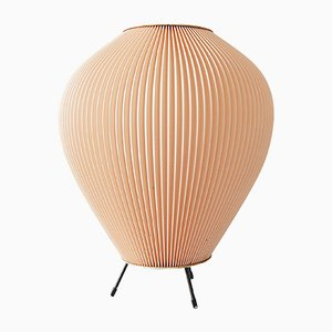 Vintage Cocoon Lamp with Pink Pleated Shade