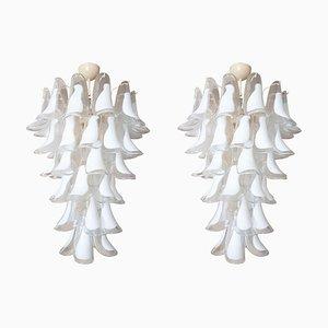 Vintage Kronleuchter aus Muranoglas mit weißen & durchsichtigen Anhängern von Mazzega, 1970er