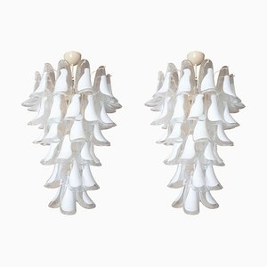Vintage White & Clear Murano Glass Chandeliers from Mazzega, 1970s