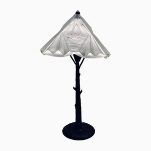 Art Deco French Iron & Molded Glass Tree-Shaped Lamp from Henri Fournier