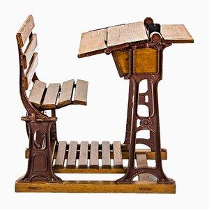 Verstellbarer antiker Schultisch von Carl Elsaesser