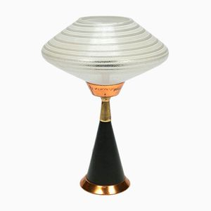 Vintage Table Lamp with Glass Shade & Copper Details, 1960s
