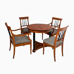 Biedermeier Style Set with Coffee Table & 4 Chairs, 1900s