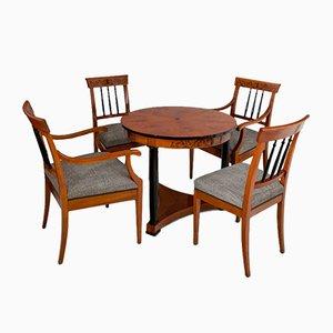 Set di tavolini da caffè Biedermeier con quattro sedie, inizio XX secolo