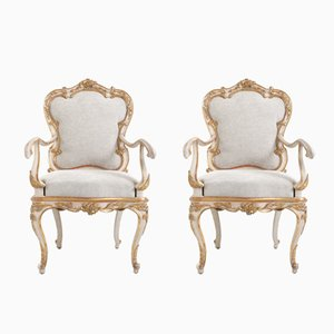 Antique Italian Armchairs, Set of 2