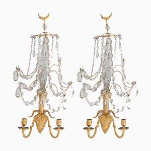 Antike skandinavische Wandlampen, 2er Set