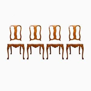 Antike niederländische Beistellstühle, 4er Set