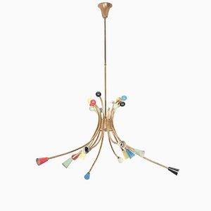 Lámpara de araña Sputnik italiana, años 50