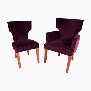 Butaca francesa Mid-Century y silla auxiliar. Juego de 2