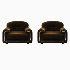 Italian Club Chairs, 1970s, Set of 2