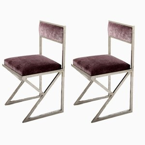 Mid-Century Chromed Side Chairs, Set of 2