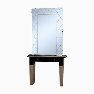 Mid-Century Italian Console Table with Mirror