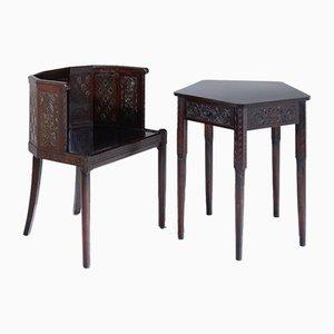 Juego de silla y mesa italiano vintage