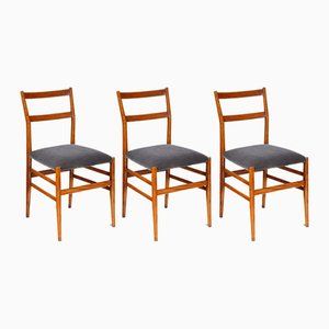 Italian Leggera Side Chairs by Gio Ponti, 1950s, Set of 3