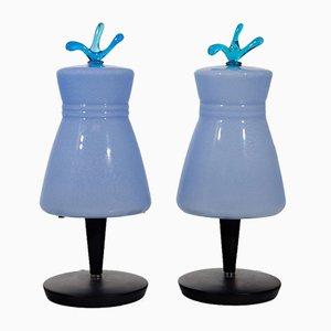 Lampes de Bureau Vintage en Verre de Murano, Italie, Set de 2