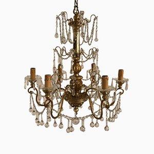 Lámpara de araña antigua de cristal y cristal de Murano