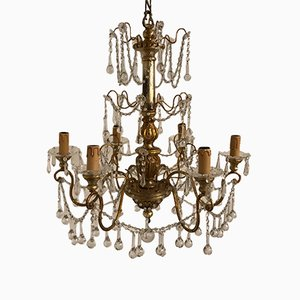 Vintage Crystal Chandelier with Murano Glass Pendants