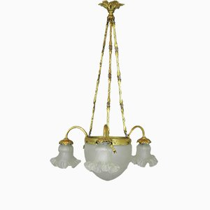 French Three Arm Ceiling Light, 1930s