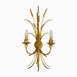 French Gilt Toleware Wheat Sheaf Wall Sconce, 1950s