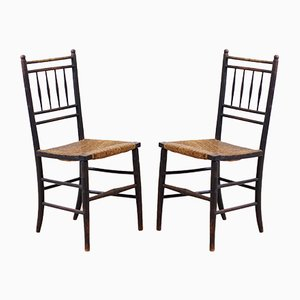 Antique Arts and Crafts Sussex Side Chairs, Set of 2