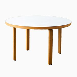 Round Vintage Finnish White Laminated Model 91 Table by Alvar Aalto for Artek