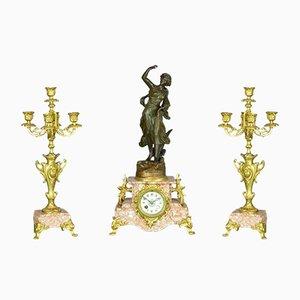 Orologio Poésie Art Nouveau di Japy Freres, Francia, 1878, set di 3
