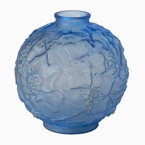 Art Deco Blue Glass Vase from Espaivet, 1920s