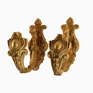 Antique Brass Cockerel Curtain Tie-Backs, Set of 2