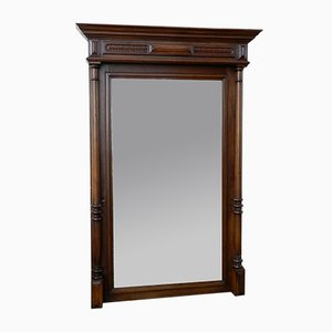 Antique French Walnut Overmantle Mirror