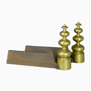 Antique French Brass Fire Andirons, Set of 2