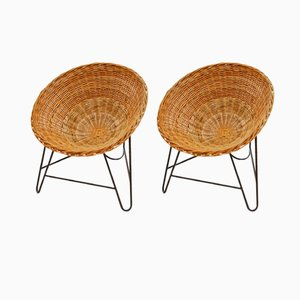 French Wicker Chairs, 1950s, Set of 2