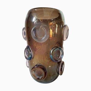 Große schillernde Vintage Vase aus Muranoglas in Braun & Lila von Seguso, 1970er