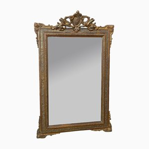Large Antique French Gilt Mirror with Dragon Crest