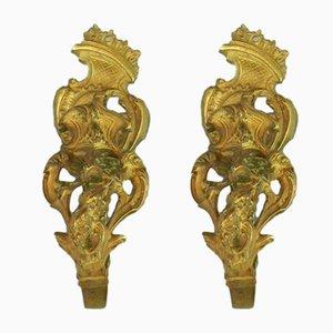Antike französische Raffhalter aus Messing, 2er Set