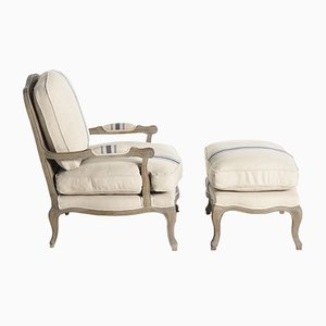 Swedish Rococo Style Armchair & Footstool, 1970s