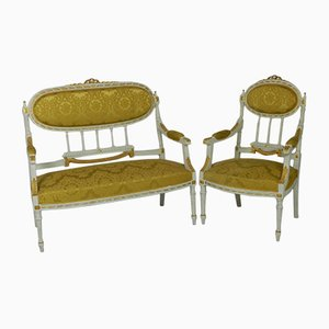 Antique Louis XVI Style French Sofa & Armchair Set