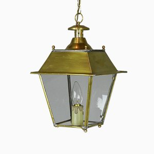 Vintage French Glazed Brass Hanging Lantern