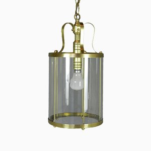 Large French Brass Hall Lantern, 1950s