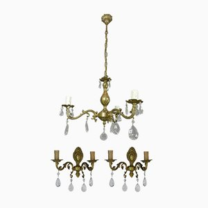 French Chandelier & Matching Wall Sconce Set, 1950s