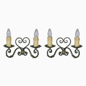 French Hand-Forged Metal & Tole Wall Sconces, 1950s, Set of 2