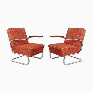 Bauhaus Sessel mit Röhrengestell, 1930er, 2er Set