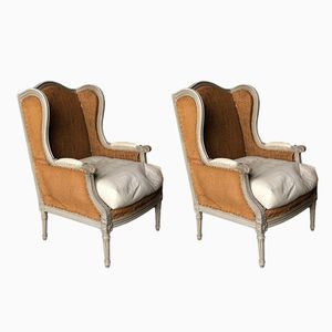 Antique French Painted Louis XVI Bergere Armchairs, Set of 2