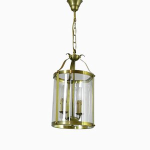 Vintage French Brass Twin Light Hall Lantern, 1930s