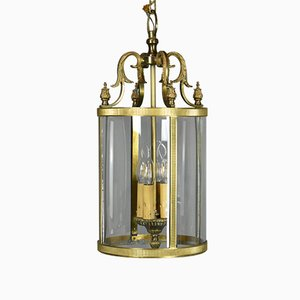 Large Vintage French Bronze Four Light Hall Lantern