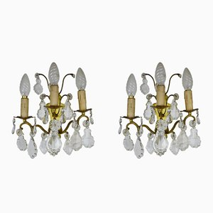 French Brass Wall Sconces Lights, 1950s, Set of 2