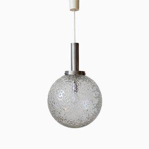 Kugelförmige Spacen Age Lampe mit Schirm aus Eisglas von Firma Bünte & Remmler, 1960er