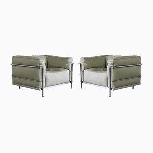 Vintage LC3 Sessel von Le Corbusier für Cassina, 1980er, 2er Set