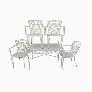 Mobilier de Jardin avec Table et 4 Chaises, 1970s