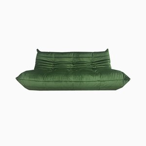 Large Mid-Century Togo Forest Green Sofa by Michel Ducaroy for Ligne Roset, 1970s